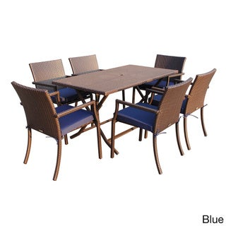 7-piece Cafe Resin Wicker Dining Set (Blue - 5-Piece Sets)
