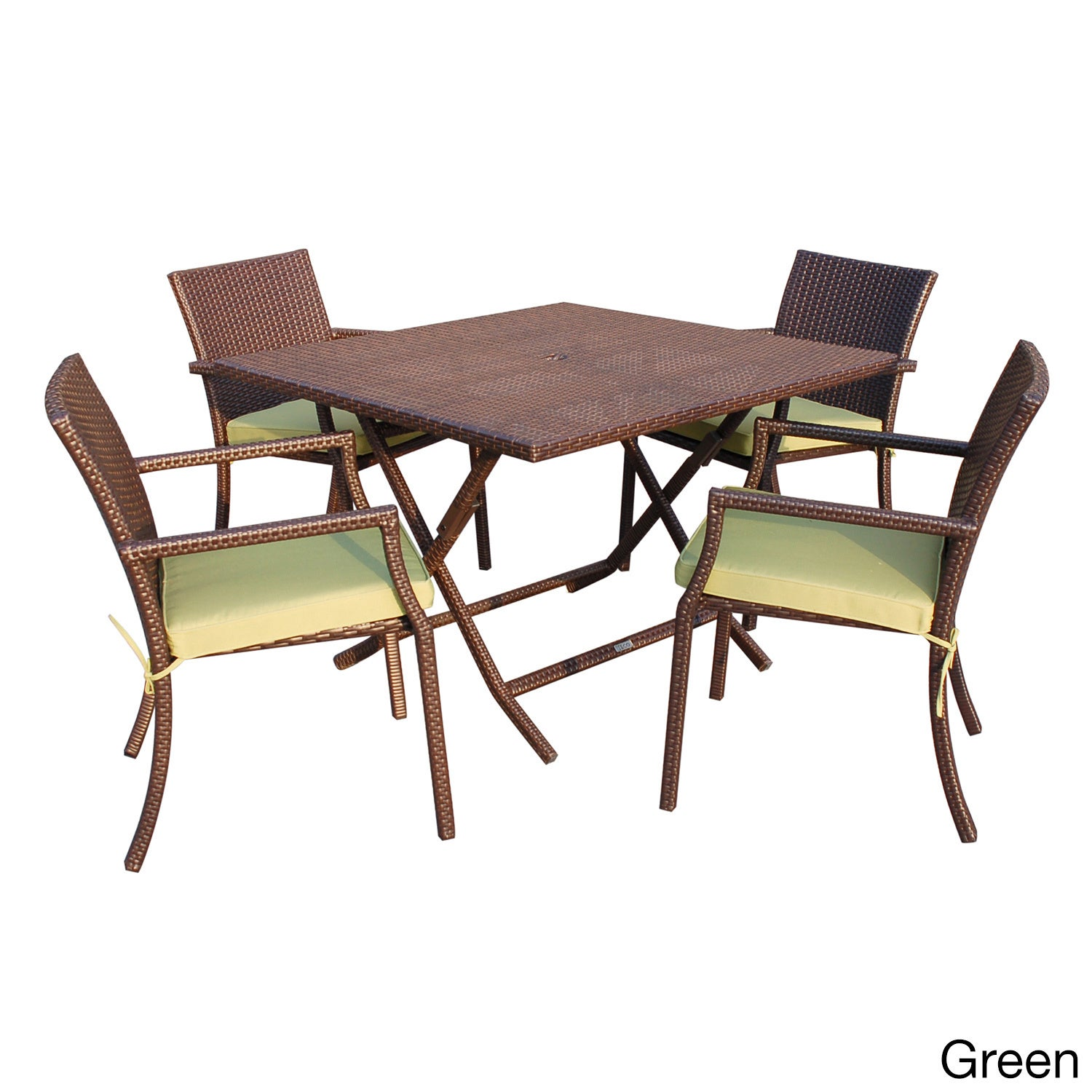 Jeco 5-piece Cafe Square Resin Wicker Dining Set (Green),...