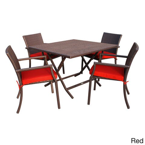 5-piece Cafe Square Resin Wicker Dining Set