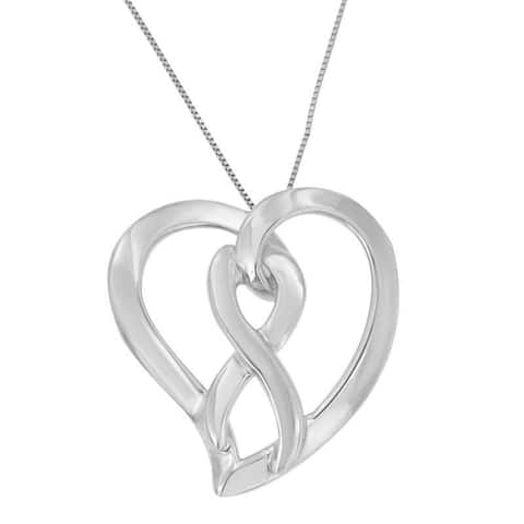 Sterling Silver Heart and Infinity Pendant Necklace