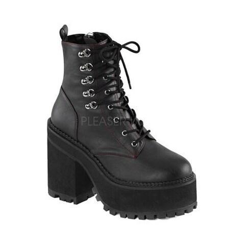 Women's Demonia Assault 100 Ankle Boot Black Vegan Leather