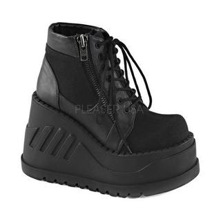 Women's Demonia Stomp 10 Platform Ankle Boot Black Canvas/Vegan Leather