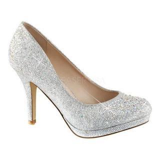 Women's Fabulicious Covet 02 Pump Silver Glitter Mesh Fabric