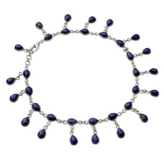 Handmade Sterling Silver 'Royal Dewdrops' Lapis Lazuli Anklet (India)