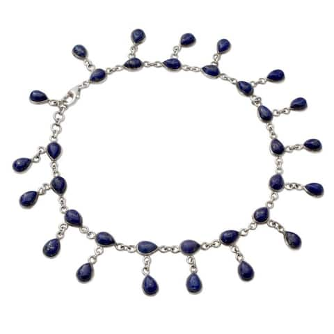 Handmade Royal Dewdrops Sterling Silver Lapis Lazuli Anklet (India)