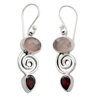Sterling Silver 'Romantic Journey' Garnet Quartz Earrings (India)