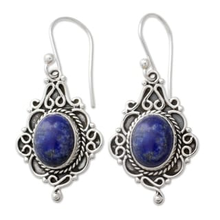 Sterling Silver 'Sky Symphony' Lapis Lazuli Earrings (India)
