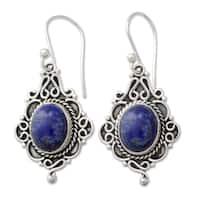 Handmade Sterling Silver 'Sky Symphony' Lapis Lazuli Earrings (India)