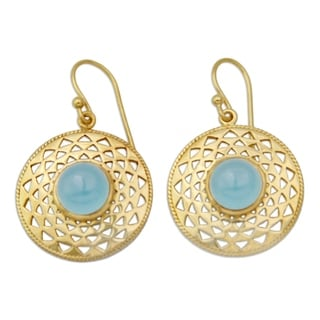Handcrafted Gold Overlay 'Jaipur Suns' Chalcedony Earrings (India)