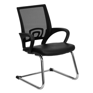 Nelida Black Leather Office Side Chair with Mesh Back and Sail Base
