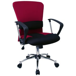 Yara Burgundy and Black Mesh Swivel Office Chair