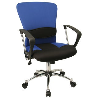 Yara Blue and Black Mesh Swivel Office Chair