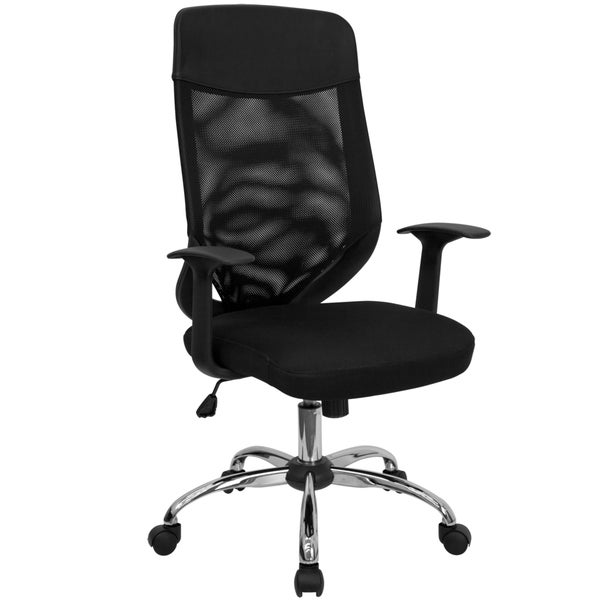 Elly Black Mesh Executive Swivel Adjustable Office Chair with Mesh Padded Seat and Nylon Headrest. Opens flyout.