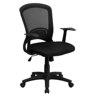 Dalley Black Swivel Adjustable Office Chair with Mesh Padded Seat