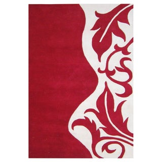 Alliyah Hand Made Red New Zealand Blend Wool Rug 8x10