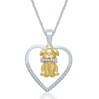 Unending Love Sterling Silver 1/10ct TDW Diamond Heart and Dog Pendant Necklace (I-J, I2-I3)