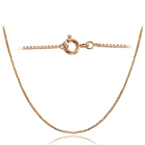 Mondevio High Polished 1mm Italian Box Chain Necklace in Lengths 16-30 Inches