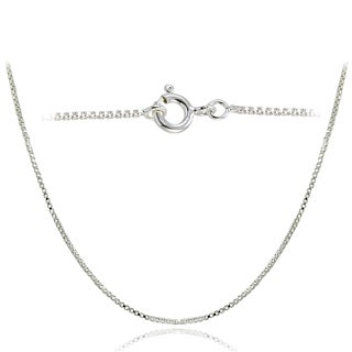 Mondevio High Polished 1mm Italian Box Chain Necklace in Lengths 16-30 Inches (More options available)
