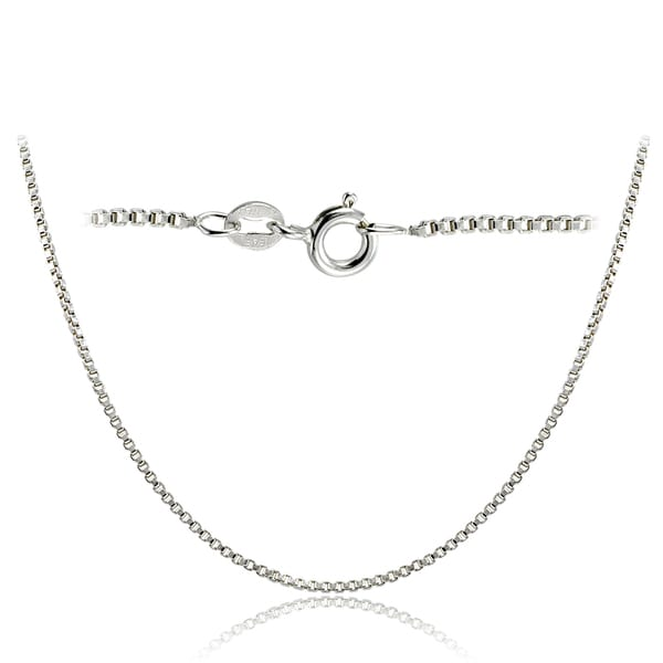 Mondevio High Polished 1.45mm Italian Box Chain Necklace in Lengths 16-30 Inches