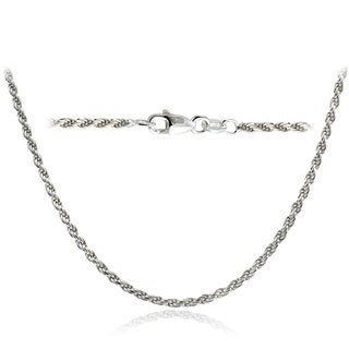Mondevio High Polished 2mm Italian Rope Chain Necklace in Lengths 16-30 Inches