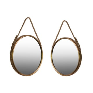Metallic Antique Gold Foil Finish Metal Wall Mirror with Rope Handle (Set of Two)