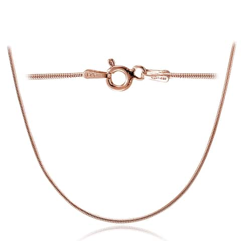 Mondevio High Polished 1mm Round Snake Chain Necklace in Lengths 16-30 Inches