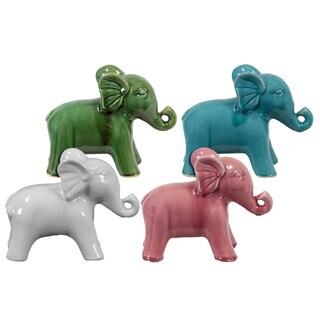 Assorted Color Glossy Standing Ceramic Elephant Figurine (Set of 4)