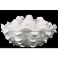 Glossy White Side Opening Ceramic Clam Seashell Figurine