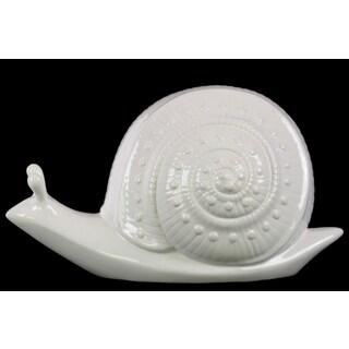 Glossy White Finish Large Ceramic Snail Figurine