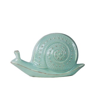 Glossy Blue Finish Ceramic Small Snail Figurine