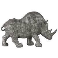 Metallic Silver Finish Polyresin Large Standing Rhinoceros Figurine