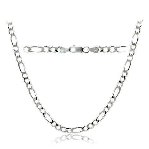 Mondevio High Polished 4mm Italian Figaro Link Chain Necklace in Lengths 16-30 Inches - White