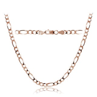 Mondevio High Polished 4mm Italian Figaro Link Chain Necklace in Lengths 16-30 Inches