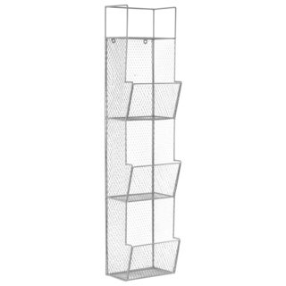 Light Grey Metal Wall 3-bin Rack with Mesh Sides
