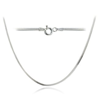 Mondevio High Polished 1.5mm Square Snake Chain Necklace in Lengths 16-30 Inches