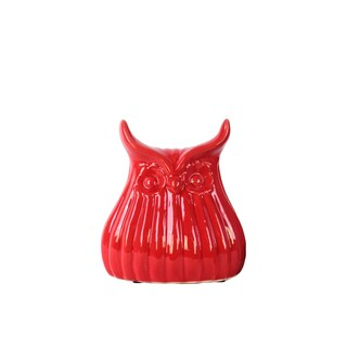 Ceramic Owl Figurine with Ribbed Design Body SM Gloss Finish Red
