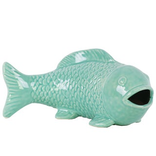 Ceramic Fish Figurine with Mouth Open Distressed Gloss Finish Teal