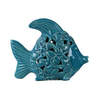 Ceramic Fish Figurine with Cutout Coastal Design Body Distressed Gloss Finish Blue