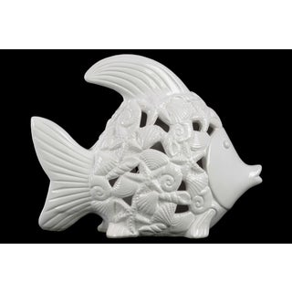Ceramic Fish Figurine with Cutout Coastal Design Body Distressed Gloss Finish White