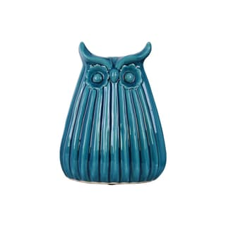Ceramic Owl Figurine with Ribbed Design Body LG Gloss Finish Blue