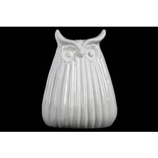 Ceramic Owl Figurine With Ribbed Design Body Lg Gloss Finish White