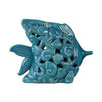 Ceramic Fish Figurine with Cutout Coastal Design and Base Distressed Gloss Finish Blue