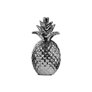 Ceramic Pineapple Figurine Pimpled Coated Finish Silver