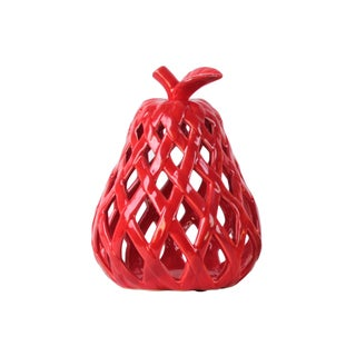 Ceramic Pear Figurine with Leaf on Stem and Cutout Design Body LG Coated Finish Red