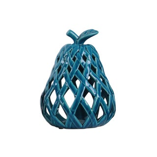 Ceramic Pear Figurine with Leaf on Stem and Cutout Design Body LG Coated Finish Blue