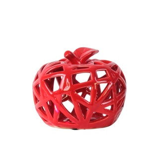 Ceramic Apple Figurine with Leaf on Stem and Cutout Design Body SM Coated Finish Red