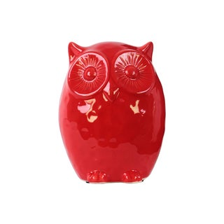 Glossy Red Ceramic Owl Figurine