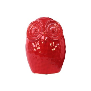 Glossy Red Ceramic Large Round Owl Figurine