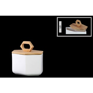 White Stoneware Hexagonal Small Canister with Bamboo Lid and Handle