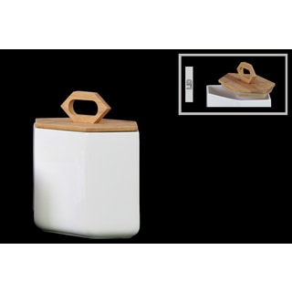 White Stoneware Hexagonal Medium Canister with Bamboo Lid and Handle